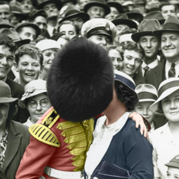 A member of the Band of His Majesty's Grenadier Guards kissing a